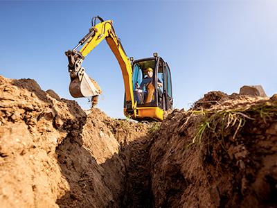 prace budowlane, wykopy pod przyłącze gazu płynnego LPG